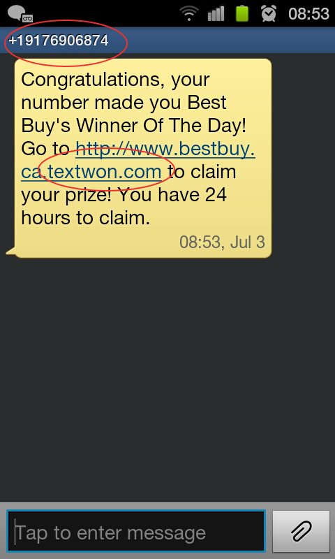 TextWon.com SCAM claiming from BestBuy.ca