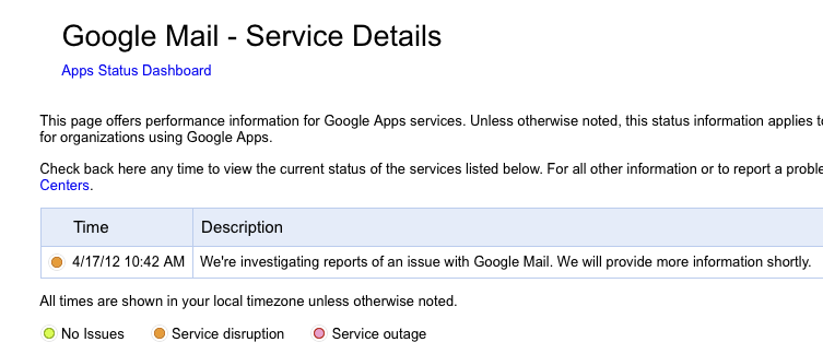 Google Apps down (April 17, 2012)