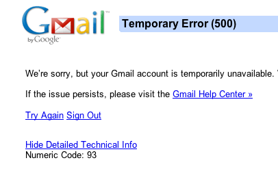 Gmail Error 500 Code 93