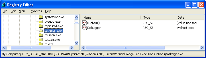 Extra debugger entry for Taskmgr.exe